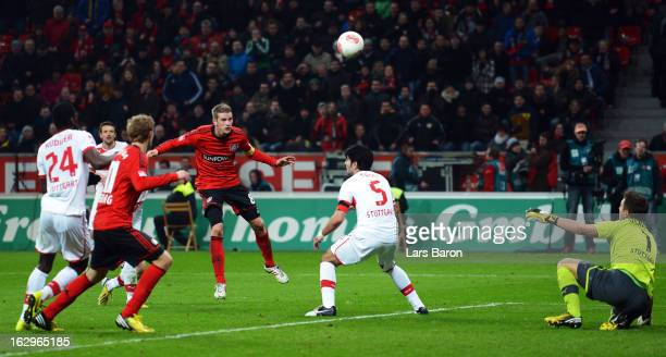 Lars Bender of Leverkusen heads his teams winning goal during the Bundesliga match between Bayer 04 Leverkusen and VfB Stuttgart at BayArena on March...