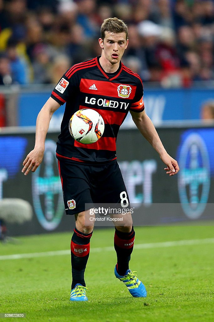 <a gi-track='captionPersonalityLinkClicked' href=/galleries/search?phrase=Lars+Bender&family=editorial&specificpeople=644948 ng-click='$event.stopPropagation()'>Lars Bender</a> of Leverkusen runs with the ball during the Bundesliga match between Bayer Leverkusen and Hertha BSC Berlin at BayArena on April 30, 2016 in Leverkusen, Germany.