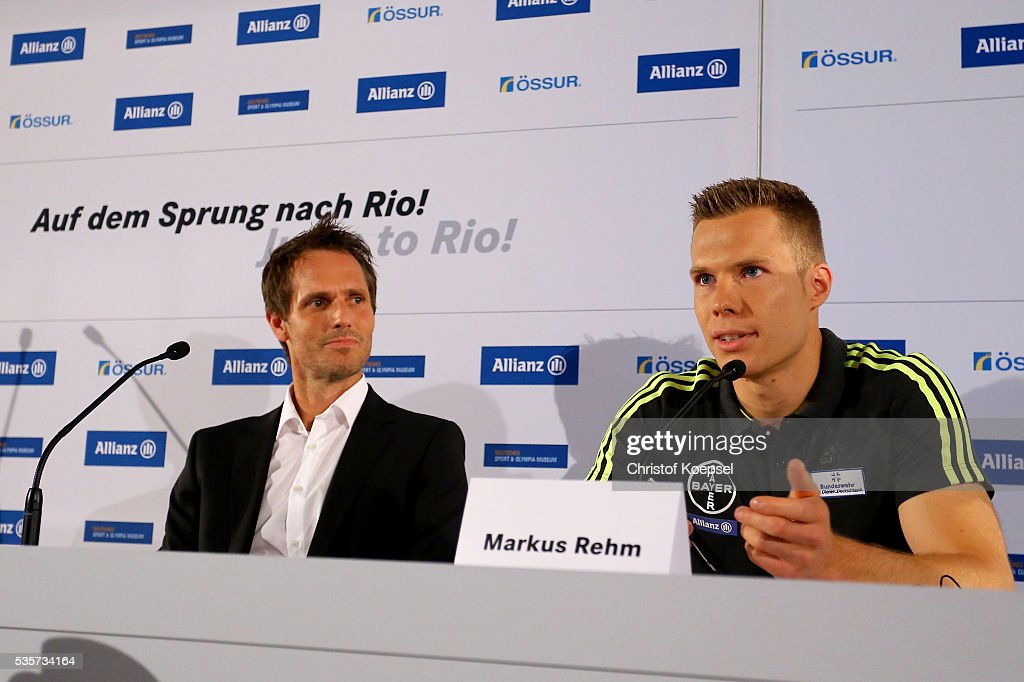 Lars Bischoff, manager of Markus Rehm and Markus Rehm, handicapped longjumper and Paralympics winner of London 2012 attend a press conference at German Sport & Olympic Museum on May 30, 2016 in Cologne, Germany.