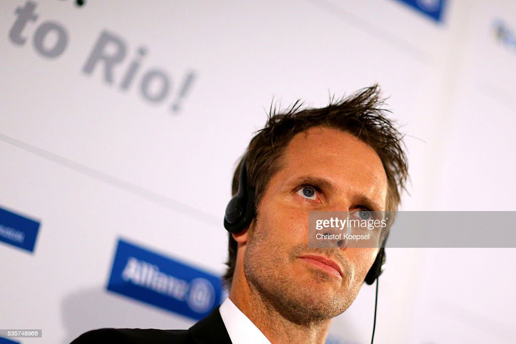 Lars Bischoff, manager of Markus Rehm and Markus Rehm, handicapped longjumper and Paralympics winner of London 2012 attends a press conference at German Sport & Olympic Museum on May 30, 2016 in Cologne, Germany.