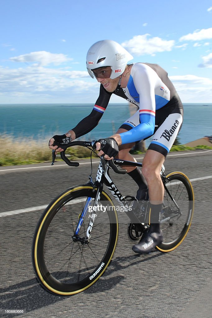 Lars Boom of Netherland competes during the second stage, a 24km individual time trial, of the 40th edition of the Tour Mediterraneen cycling race from Cap d'Agde to Sete on February 7, 2013 in Sete, southern France. Boom won the stage