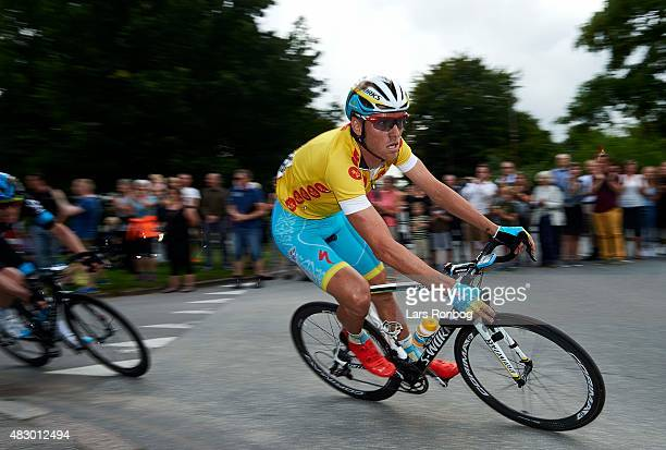 Lars Boom of Team Astana in the leaders yellow jersey in action during stage 2 of the 2015 Tour of Denmark a 235km stage from Ringkobing to Aarhus on...