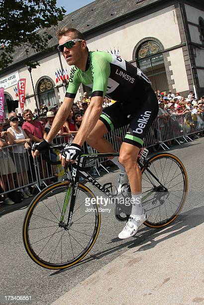 Lars Boom of the Nederlands and Team Belkin Pro Cycling gets ready for Stage Fourteen of the 2013 Tour de France a 191 km road stage from...