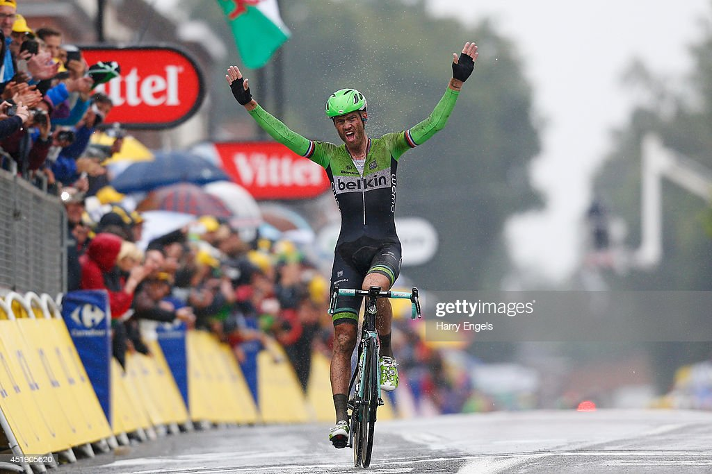 <a gi-track='captionPersonalityLinkClicked' href=/galleries/search?phrase=Lars+Boom&family=editorial&specificpeople=2696194 ng-click='$event.stopPropagation()'>Lars Boom</a> of the Netherlands and team Belkin Pro Cycling celebrates winning the fifth stage of the 2014 Tour de France, a 155km stage between Ypres and Arenberg Porte du Hainaut, on July 9, 2014 in Ypres, Belgium.