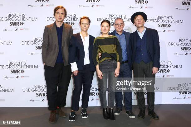 Lars Eidinger Claudia Michelsen Hannah Herzsprung Joachim Krol and Robert Stadlober the cast of the film attend the photo call for the film 'Brechts...