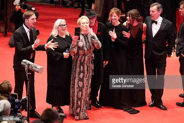 Lars EidingerBrigitte LacombeMeryl StreepDieter KosslicAlba RohrwacherMalgorzata Szumowska and Nick James attend the 'Hail Caesar' premiere during...