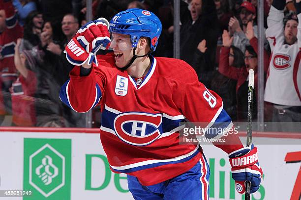 Lars Eller of the Montreal Canadiens celebrates his second period goal during the NHL game against the Minnesota Wild at the Bell Centre on November...