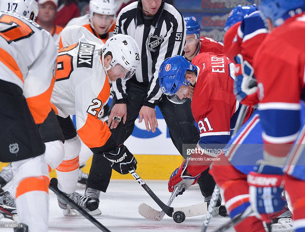 <a gi-track='captionPersonalityLinkClicked' href=/galleries/search?phrase=Lars+Eller&family=editorial&specificpeople=4324947 ng-click='$event.stopPropagation()'>Lars Eller</a> #81 of the Montreal Canadiens faces off with <a gi-track='captionPersonalityLinkClicked' href=/galleries/search?phrase=Claude+Giroux&family=editorial&specificpeople=537961 ng-click='$event.stopPropagation()'>Claude Giroux</a> #28 of the Philadelphia Flyers during the NHL game on February 16, 2013 at the Bell Centre in Montreal, Quebec, Canada.