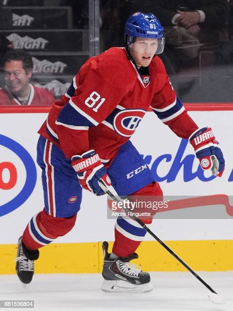 Lars Eller of the Montreal Canadiens plays in the game against the Philadelphia Flyers at the Bell Centre on November 15 2014 in Montreal Quebec...