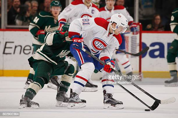Lars Eller of the Montreal Canadiens skates with the puck against the Minnesota Wild during the game on December 22 2015 at the Xcel Energy Center in...