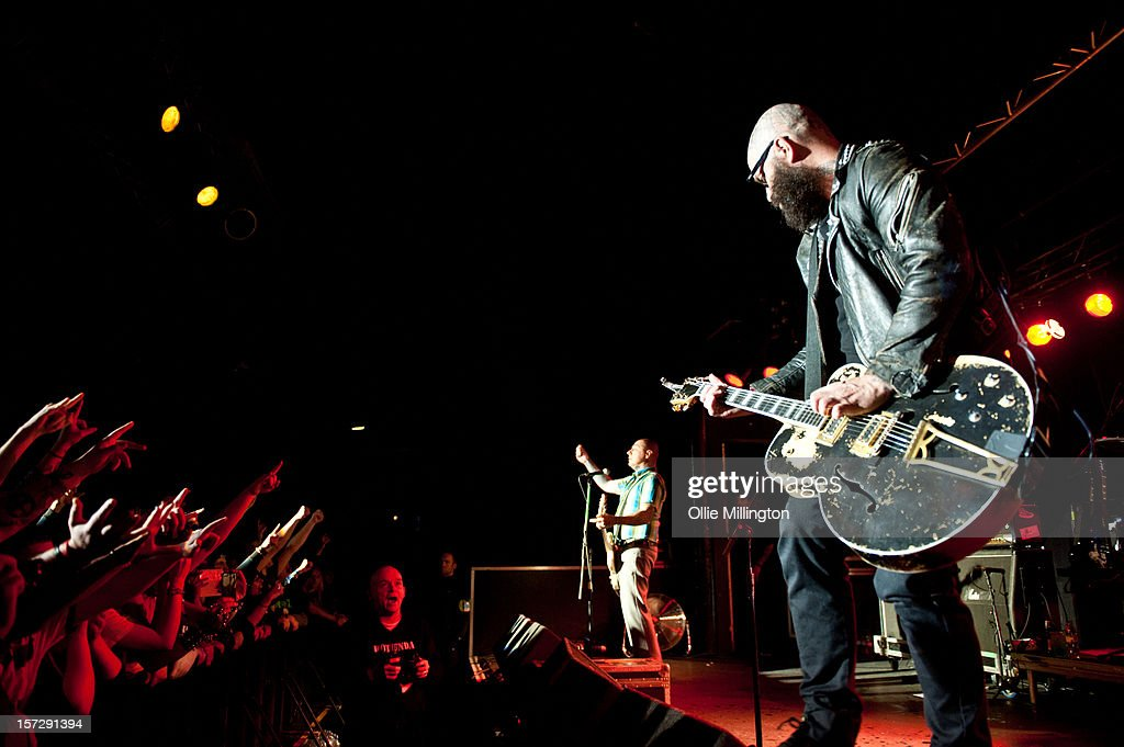 Lars Frederiksen and Tim Armstrong of Rancid perform during the first English night of the 20th anniversary tour onstage at Rock City on December 1, 2012 in Nottingham, England.