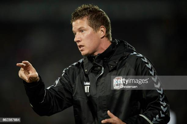 Lars Friis assistant coach of AGF Arhus gives instructions during the Danish Alka Superliga match between AGF Arhus and Lyngby BK at Ceres Park on...