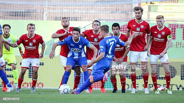 Lars Fuchs of Magdeburg scores his team's second goal with a freekick during the 3 Liga match between 1 FSV Mainz 05 II and 1 FC Magdeburg at...