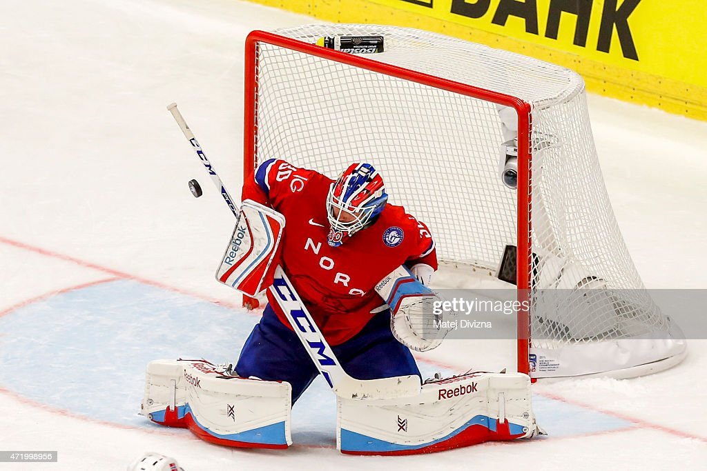 <a gi-track='captionPersonalityLinkClicked' href=/galleries/search?phrase=Lars+Haugen&family=editorial&specificpeople=7718894 ng-click='$event.stopPropagation()'>Lars Haugen</a>, goalkeeper of Norway, in action during the IIHF World Championship group B match between Norway and USA at CEZ Arena on May 2, 2015 in Ostrava, Czech Republic.