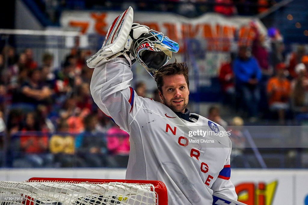 <a gi-track='captionPersonalityLinkClicked' href=/galleries/search?phrase=Lars+Haugen&family=editorial&specificpeople=7718894 ng-click='$event.stopPropagation()'>Lars Haugen</a>, goalkeeper of Norway, pauses during the IIHF World Championship group B match between Norway and Belarus at CEZ Arena on May 12, 2015 in Ostrava, Czech Republic.