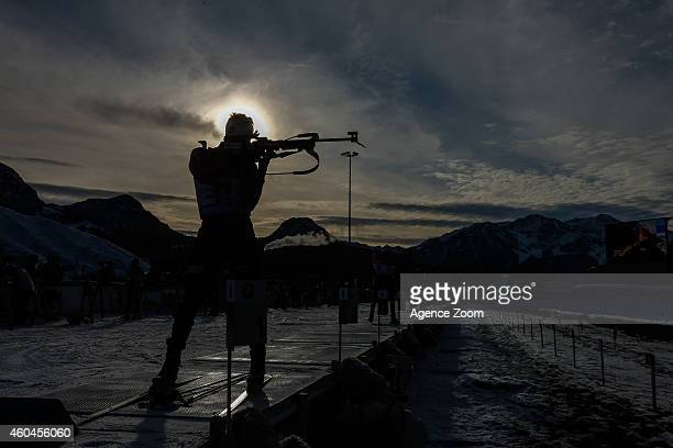 Lars Helge Birkeland of Norway competes during the IBU Biathlon World Cup Men's and Women's Pursuit on December 14 2014 in Hochfilzen Austria