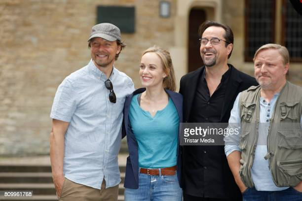 Lars Jessen Friederike Kempter Jan Josef Liefers and Axel Prahl during the 'Tatort Gott ist auch nur ein Mensch' On Set Photo Call on July 5 2017 in...