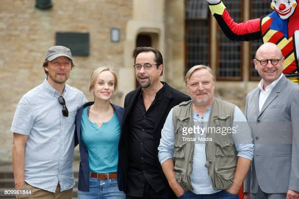 Lars Jessen Friederike Kempter Jan Josef Liefers Axel Prahl and Markus Lewe during the 'Tatort Gott ist auch nur ein Mensch' On Set Photo Call on...