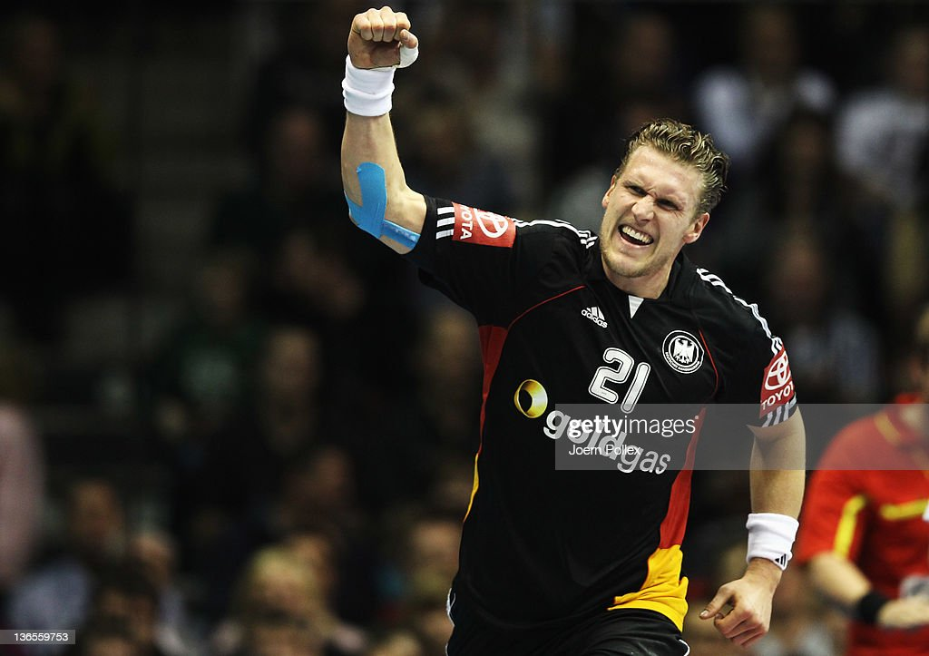 <a gi-track='captionPersonalityLinkClicked' href=/galleries/search?phrase=Lars+Kaufmann&family=editorial&specificpeople=579003 ng-click='$event.stopPropagation()'>Lars Kaufmann</a> of Germany celebrates during the International handball friendly match between Germany and Hungary at Getec-Arena on January 8, 2012 in Magdeburg, Germany.
