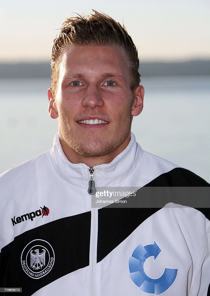 Lars Kaufmann of the German handball national squad poses during a photo call at Ammersee Lake on January 10, 2007 in Herrsching, Germany.
