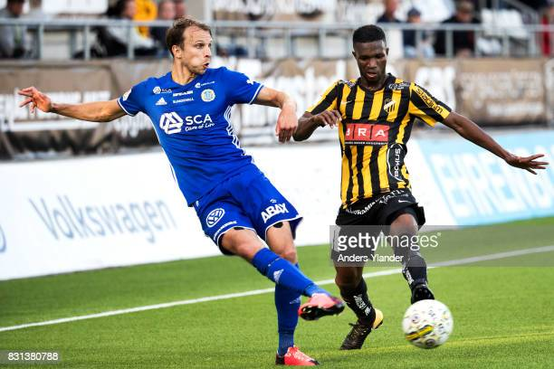 Lars Krogh Gerson of GIF Sundsvall fight for the ball with Mohammed Abubakari of BK Hacken during the Allsvenskan match between BK Hacken and GIF...