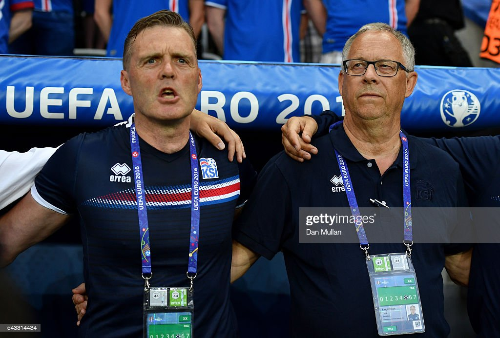 <a gi-track='captionPersonalityLinkClicked' href=/galleries/search?phrase=Lars+Lagerback&family=editorial&specificpeople=542148 ng-click='$event.stopPropagation()'>Lars Lagerback</a> (R) head coach of Iceland is seen prior to the UEFA EURO 2016 round of 16 match between England and Iceland at Allianz Riviera Stadium on June 27, 2016 in Nice, France.