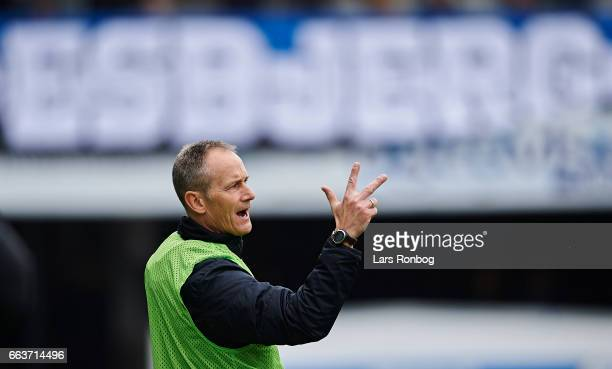 Lars Lungi Sorensen head coach of Esbjerg fB gestures during the Danish Alka Superliga match between Esbjerg fB and Randers FC at Blue Water Arena on...