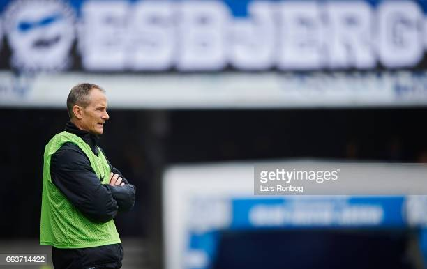 Lars Lungi Sorensen head coach of Esbjerg fB looks on during the Danish Alka Superliga match between Esbjerg fB and Randers FC at Blue Water Arena on...