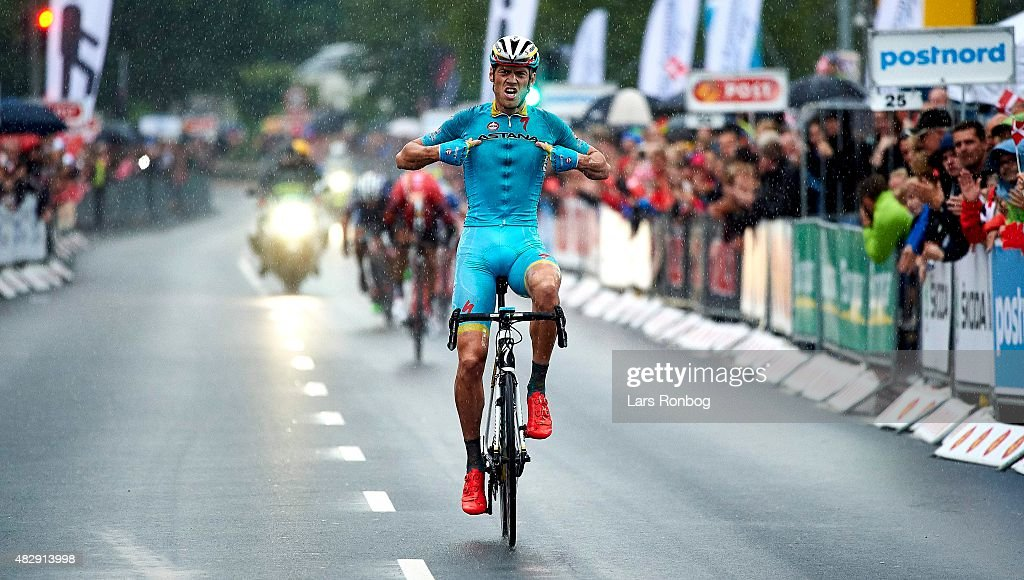 Lars of Team Astana crosses the finishline as the winner of Stage 1 of the 2015 Tour of Denmark (Post Danmark Rundt), a 180km stage from Struer to Holstebro, on August 4, 2015 in Holstebro, Denmark.