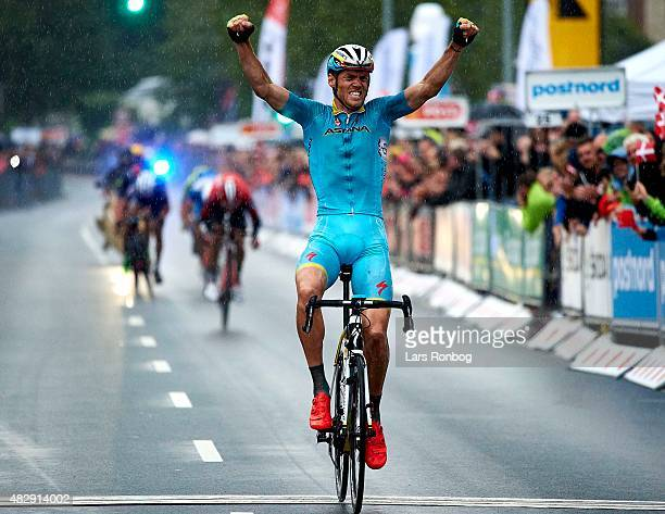 Lars of Team Astana crosses the finishline as the winner of Stage 1 of the 2015 Tour of Denmark a 180km stage from Struer to Holstebro on August 4...