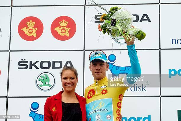 Lars of Team Astana on the podium in the yellow jersey as the leader of the race after Stage 1 of the 2015 Tour of Denmark a 180km stage from Struer...
