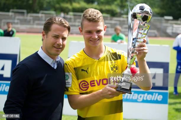 Lars Ricken and Julian Schermann of Dortmund looks on during the EMKA RUHRCup International Final match between Borussia Dortmund U19 and Real Madrid...