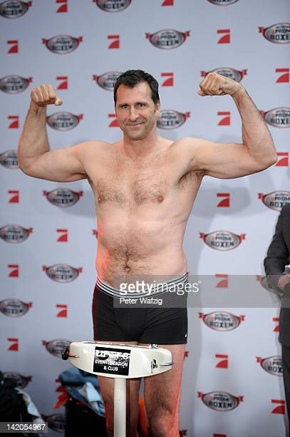 Lars Riedel attends the Celebrity Boxing Press Conference at Ufer 8 on March 29 2012 in Duesseldorf Germany