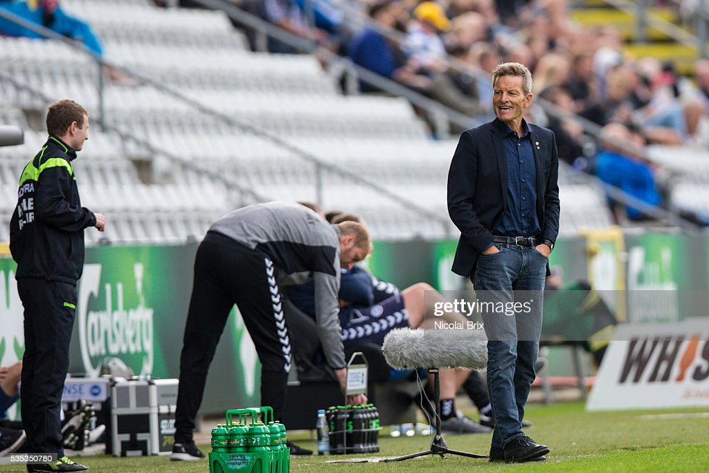 Lars Sondergaard, head coach of AaB Aalborg the Danish Alka Superliga match between OB Odense and AaB Aalborg at TreFor Park on May 29, 2016 in Odense, Denmark.
