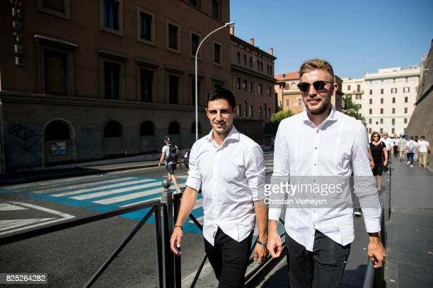 Lars Stindl and Christoph Kramer during the Team of Borussia Moenchengladbach visit Vatican City on August 01 2017 in Vatican City Vatican