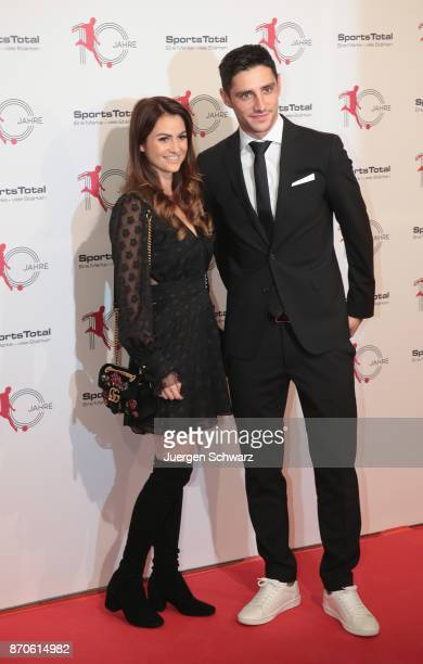Lars Stindl and his wife Tanita pose at the 10th anniversary celebration of the Sports Total Agency on November 5 2017 in Cologne Germany