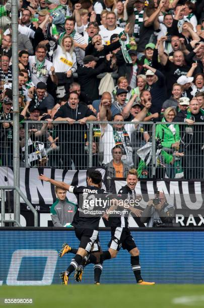 Lars Stindl and Nico Elvedi of Borussia Moenchengladbach celebrate the first goal during of the Bundesliga match between Borussia Moenchengladbach...