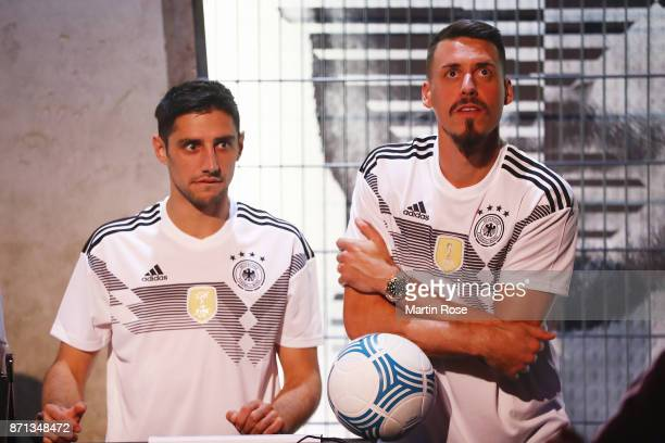 Lars Stindl and Sandro Wagner attend the presentation of the new adidas Germany kit for the 2018 FIFA World Cup Russia at The Base on November 7 2017...