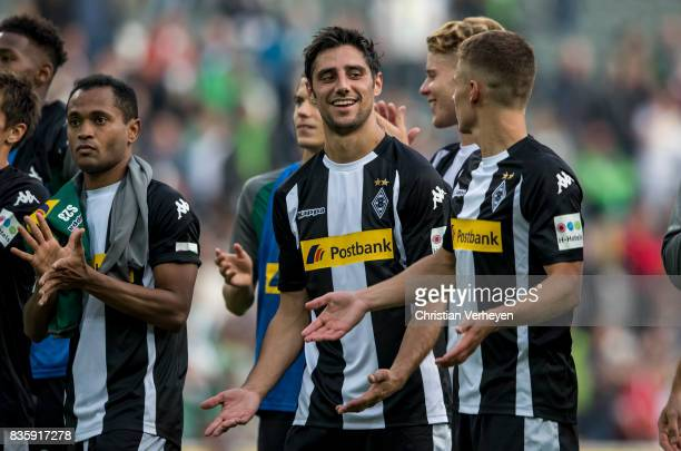 Lars Stindl and Thorgan Hazard of Borussia Moenchengladbach celebrate after the Bundesliga match between Borussia Moenchengladbach and 1 FC Koeln at...