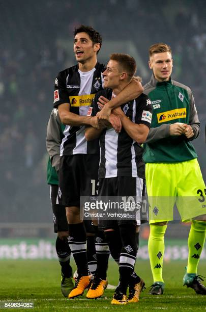 Lars Stindl and Thorgan Hazard of Borussia Moenchengladbach celebrate after the Bundesliga match between Borussia Moenchengladbach and VfB Stuttgart...