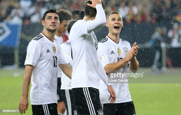 Lars Stindl Joshua Kimmich of Germany salute the fans following the FIFA 2018 World Cup Qualifier between Germany and Azerbaijan at FritzWalter...