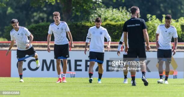 Lars Stindl Leon Goretzka Marvin Plattenhardt and Benjamin Henrichs warm up during a training session on June 14 2017 in Kelsterbach Germany