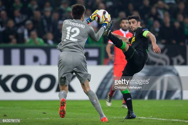 Lars Stindl of Borussia Moenchengladbach and Ciprian Tatarusanu of ACF Fiorentina looks disappointed during the UEFA Euro League Match between...