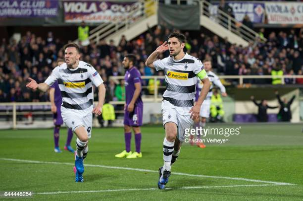 Lars Stindl of Borussia Moenchengladbach celebrate after he scores his teams second goal during the UEFA Europa League Match between ACF Fiorentina...
