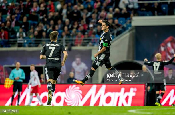 Lars Stindl of Borussia Moenchengladbach celebrate after he scores his teams second goal during the Bundesliga match between RB Leipzig and Borussia...