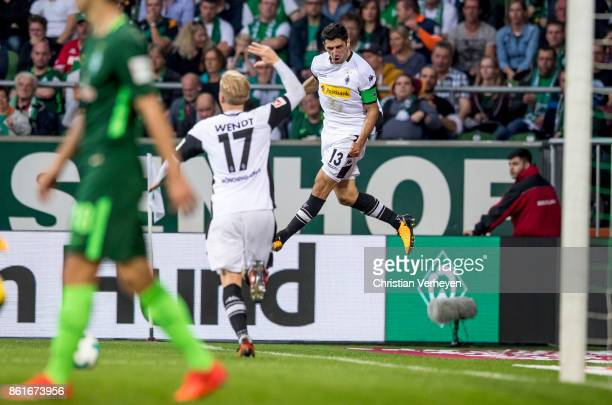 Lars Stindl of Borussia Moenchengladbach celebrate after he scores his teams first goal during the Bundesliga match bewtween Werder Bremen and...