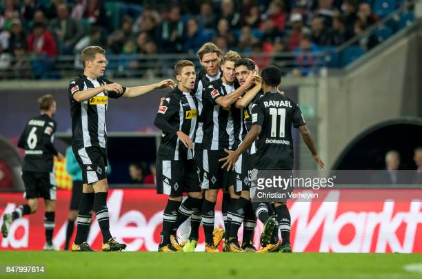 Lars Stindl of Borussia Moenchengladbach celebrate with his team mates after he scores his teams second goal during the Bundesliga match between RB...
