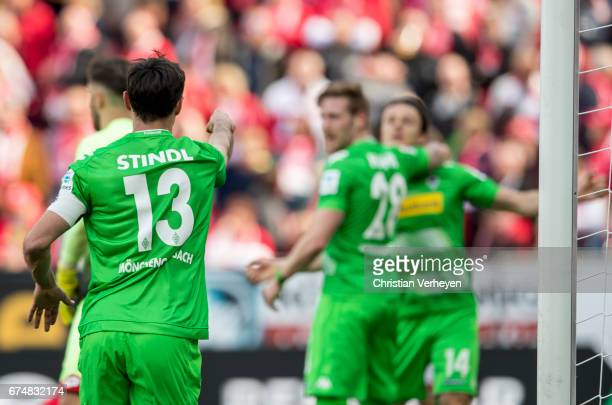 Lars Stindl of Borussia Moenchengladbach celebrates after he scores his teams first goal during the Bundesliga Match between 1FSV Mainz 05 and...