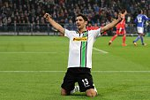 Lars Stindl of Borussia Moenchengladbach celebrates after scoring their first goal during the DFB Cup match between FC Schalke 04 and Borussia...