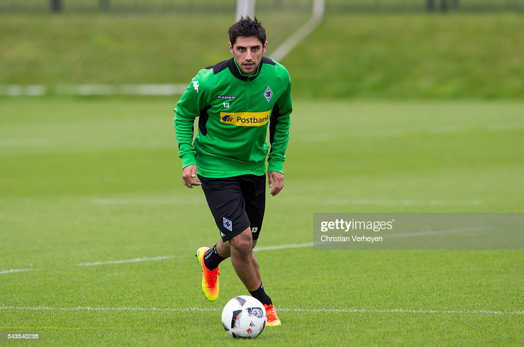 Lars Stindl of Borussia Moenchengladbach controls the ball during a training session at Borussia-Park on June 29, 2016 in Moenchengladbach, Germany.